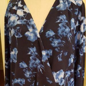 New Vince Camuto Blue Floral Long Slve Shirt Sz L